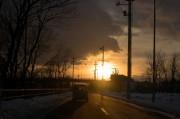 ガラス越しの夕陽